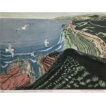 Penny Berry Paterson (1941-2021) colour linocut print, James Hutton's Siccar Point, signed and numbe