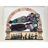 Penny Berry Paterson (1941-2021), colour linocut, Sleepless Knight, signed titled and numbered 5/30,