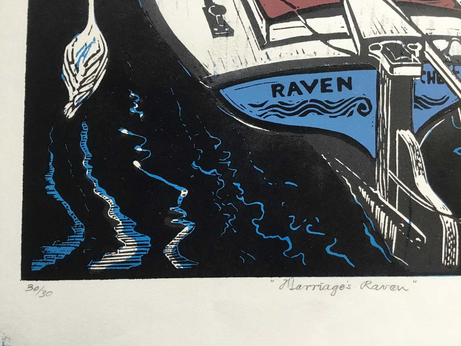 Penny Berry Paterson (1941-2021) colour linocut print, Marriages Raven, signed and numbered 30/30, 4 - Image 3 of 3