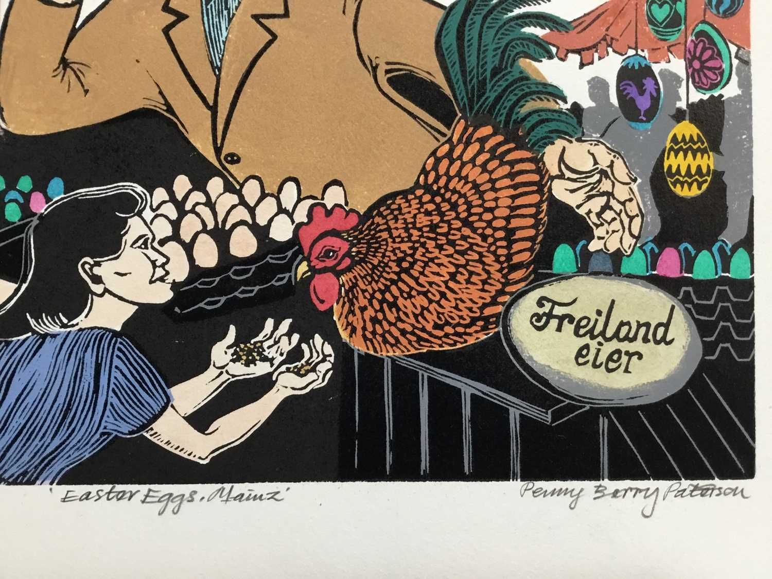 Penny Berry Paterson (1941-2021) colour linocut print, Easter eggs, Mainz, signed and numbered 1/20, - Image 2 of 3