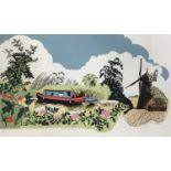Penny Berry Paterson (1941-2021) colour woodcut print, Barnack Mill, signed titled and numbered 17/2