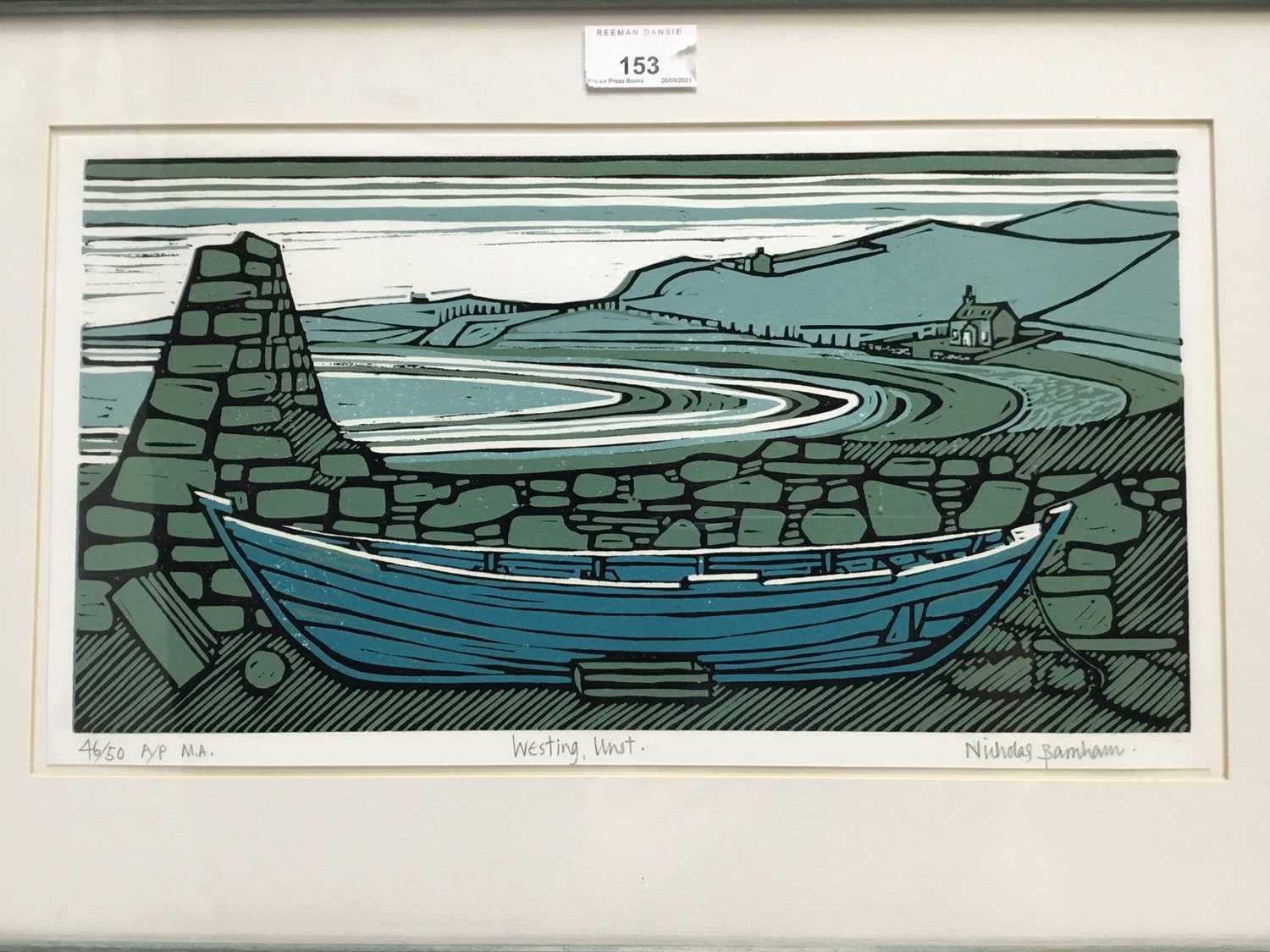 Nicholas Barnham (b. 1939) linocut in colours, Westing Unst, signed and numbered 46/50 A/P, 20 x 36c