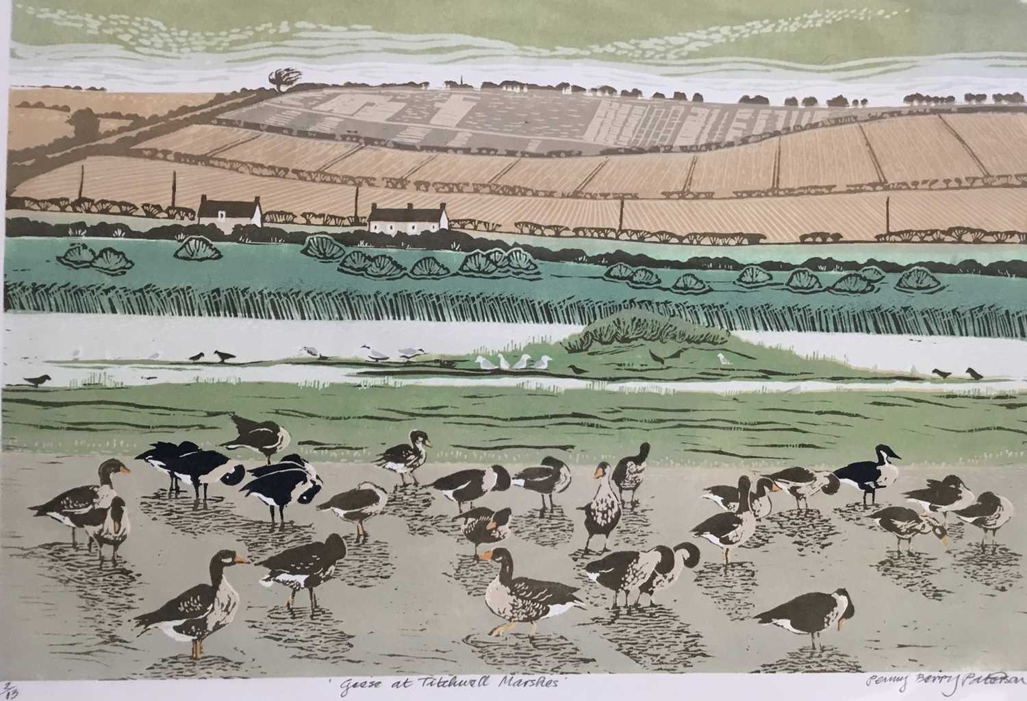 Penny Berry Paterson (1941-2021) colour linocut print, Geese at Titchwall Marshes, signed and number