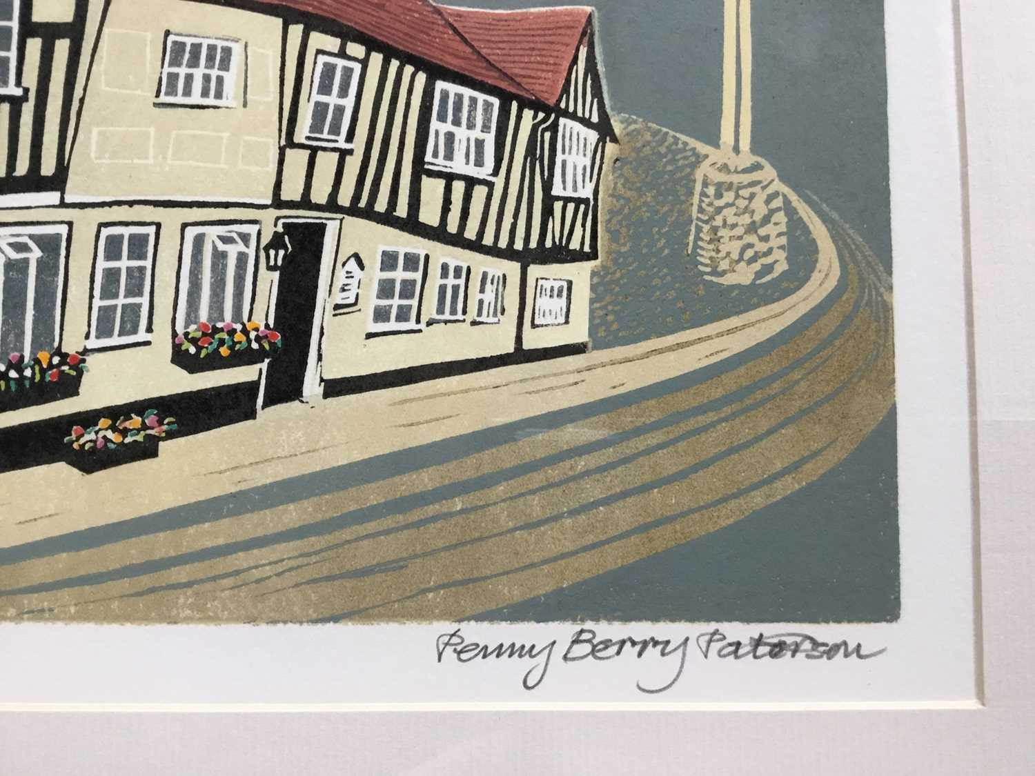 Penny Berry Patterson (1941-2021) colour linocut, Castle Hedingham, signed titled and numbered 10/20 - Image 2 of 6