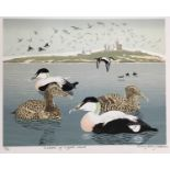 Penny Berry Paterson (1941-2021) colour linocut print, Eiders off Coquat Island, signed and numbered