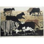Penny Berry Paterson (1941-2021) colour linocut print, Out to graze, signed and numbered 4/8, 30 x 4