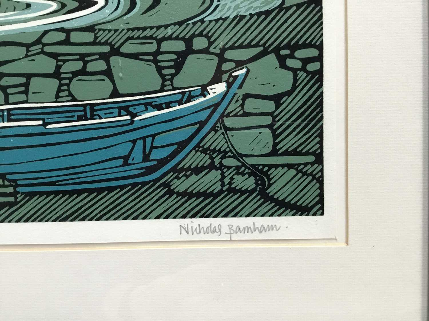 Nicholas Barnham (b. 1939) linocut in colours, Westing Unst, signed and numbered 46/50 A/P, 20 x 36c - Image 2 of 7
