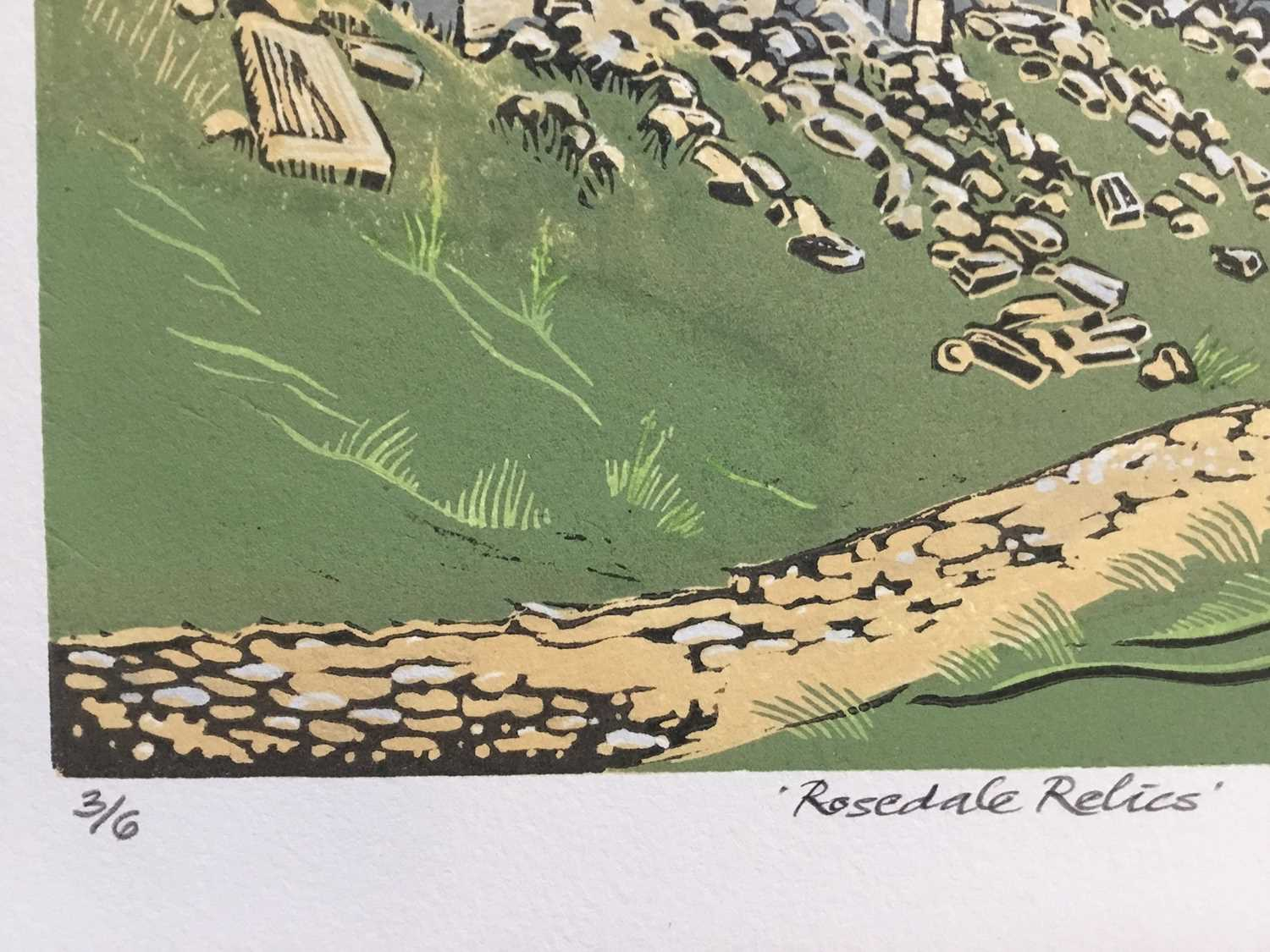 Penny Berry Paterson (1941-2021) colour linocut print, Rosedale Relics, signed and numbered 3/6, 24 - Image 3 of 3