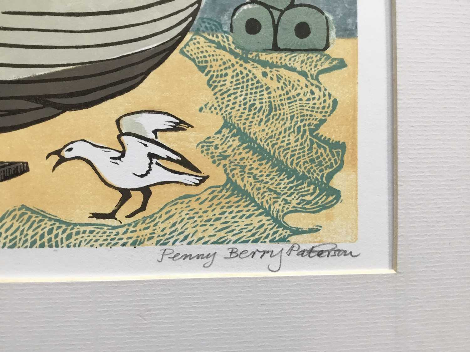 Penny Berry Paterson (1941-2021) colour linocut print, Dropping in for lunch, signed and numbered 2/ - Image 2 of 3