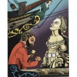 Penny Berry Paterson (1941-2021) colour linocut print, Neptune's Rib, signed and numbered 8/30, 46 x