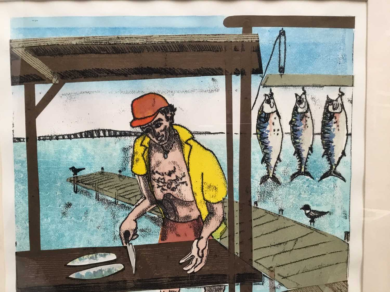 Penny Berry Paterson (1941-2021) monoprint - Sharing the spoils, South Padre Island, signed titled a - Image 3 of 7