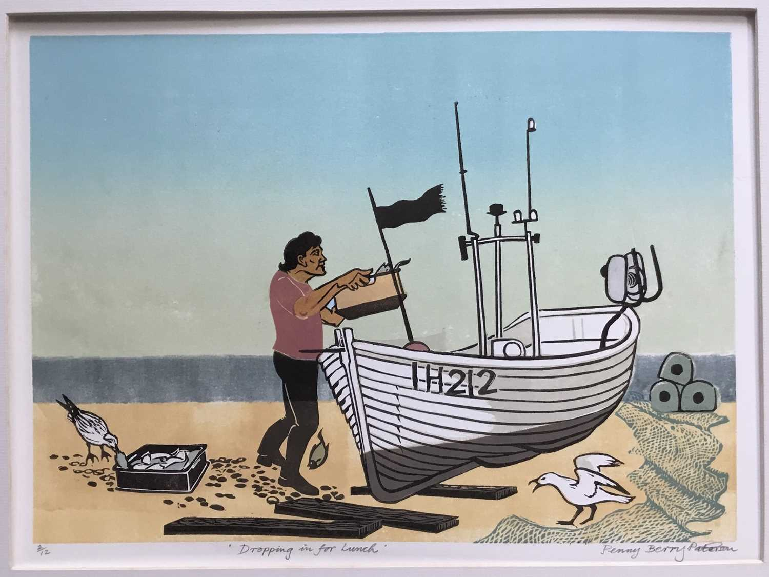 Penny Berry Paterson (1941-2021) colour linocut print, Dropping in for lunch, signed and numbered 2/