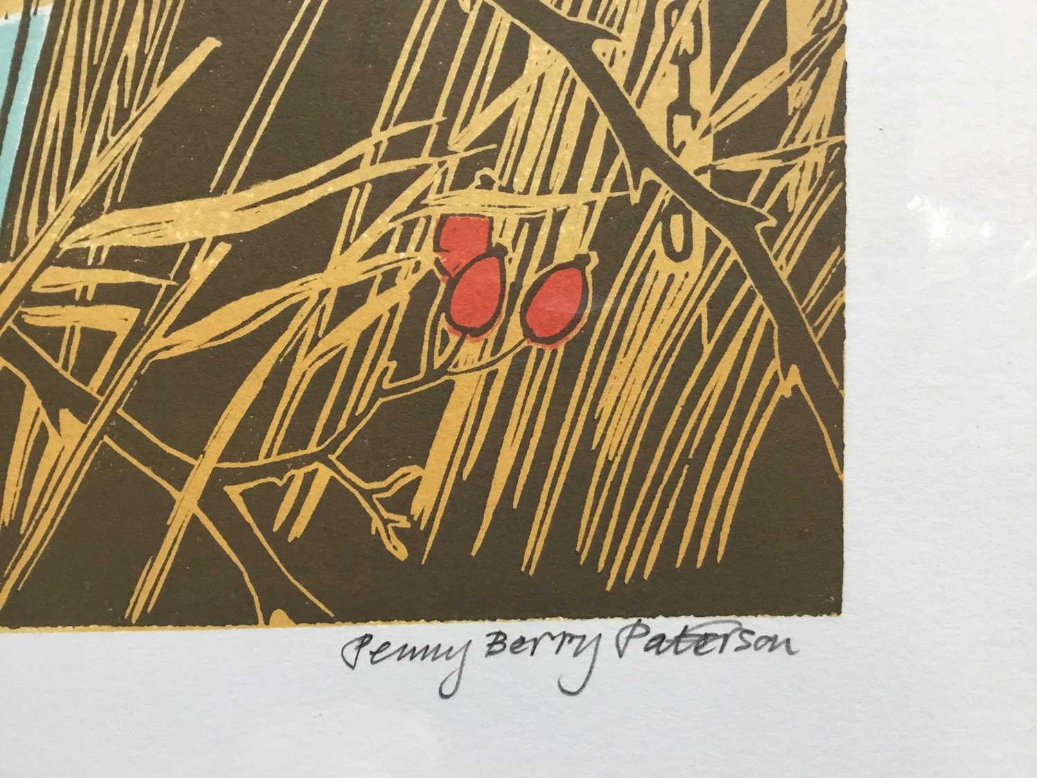 Penny Berry Paterson (1941-2021) colour linocut print, Waxwings at Minsmere, signed and numbered 11/ - Image 2 of 3
