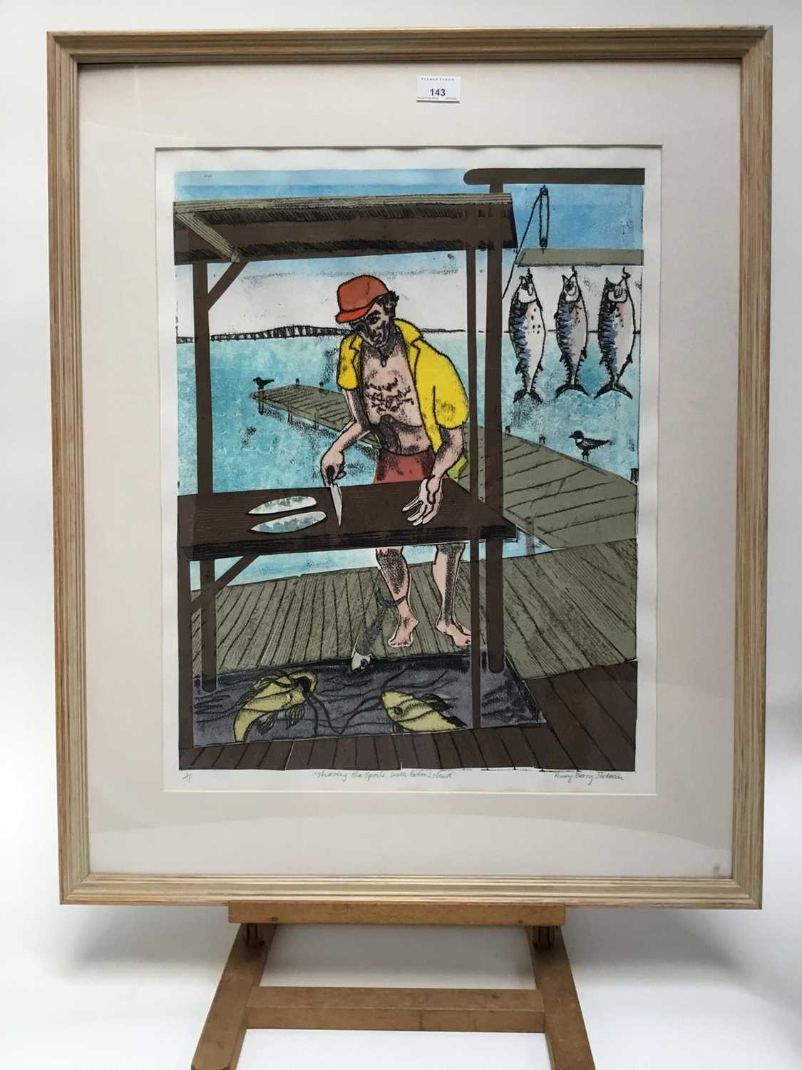 Penny Berry Paterson (1941-2021) monoprint - Sharing the spoils, South Padre Island, signed titled a - Image 5 of 7
