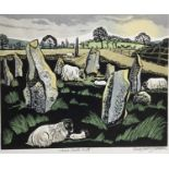 Penny Berry Paterson (1941-2021) colour linocut print, Stone circle, Mull, signed and numbered H/C,