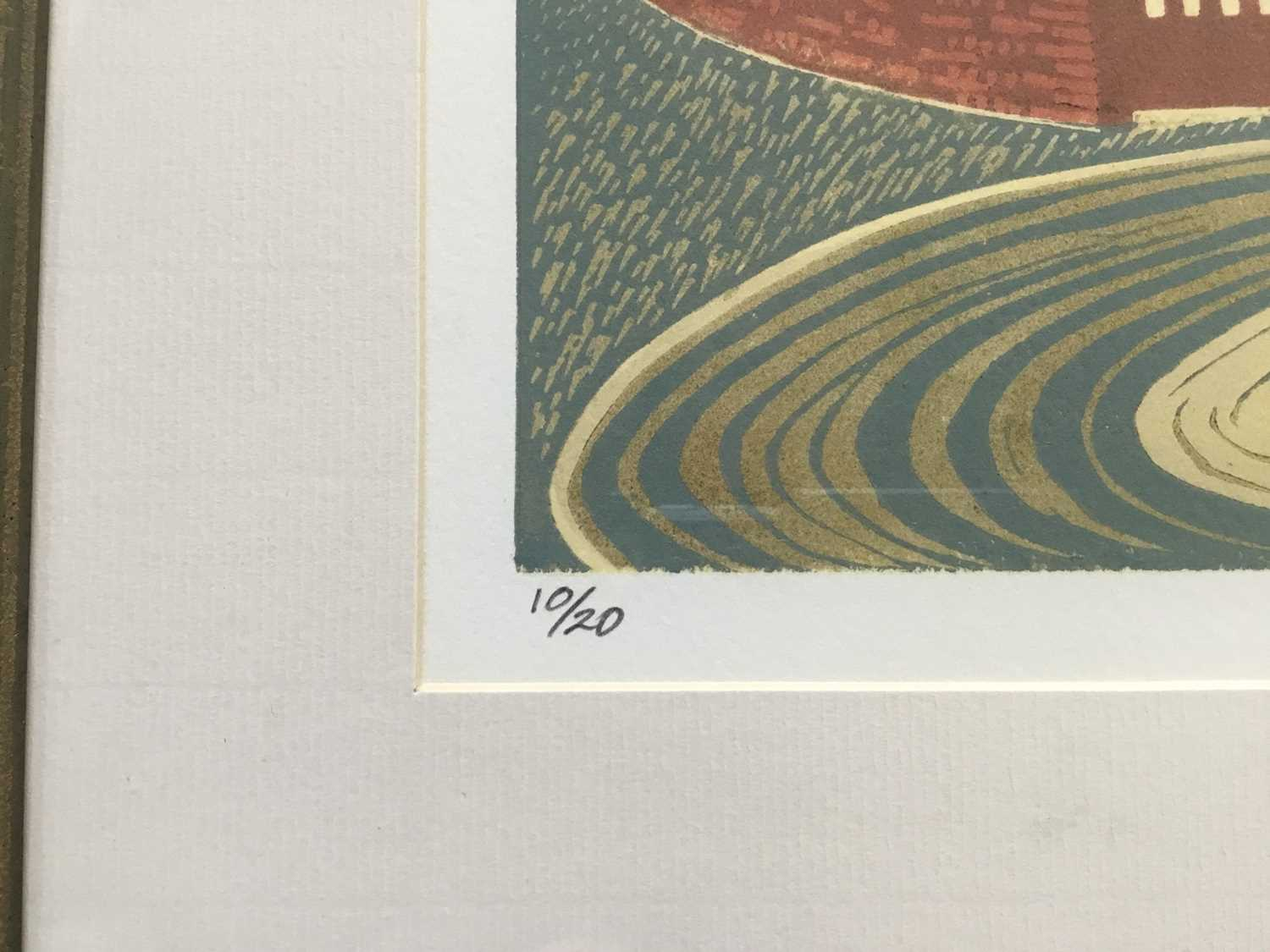 Penny Berry Patterson (1941-2021) colour linocut, Castle Hedingham, signed titled and numbered 10/20 - Image 4 of 6