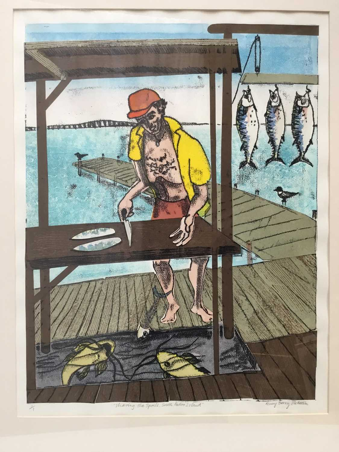 Penny Berry Paterson (1941-2021) monoprint - Sharing the spoils, South Padre Island, signed titled a