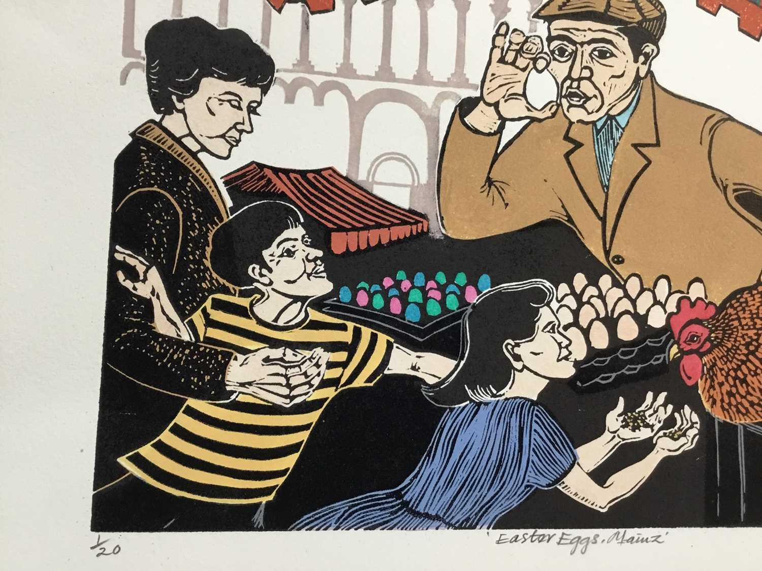 Penny Berry Paterson (1941-2021) colour linocut print, Easter eggs, Mainz, signed and numbered 1/20, - Image 3 of 3