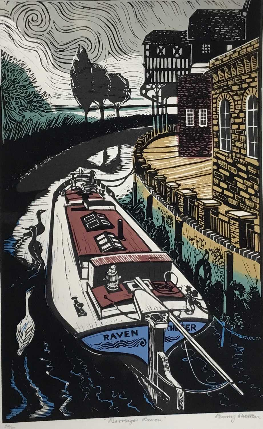 Penny Berry Paterson (1941-2021) colour linocut print, Marriages Raven, signed and numbered 30/30, 4