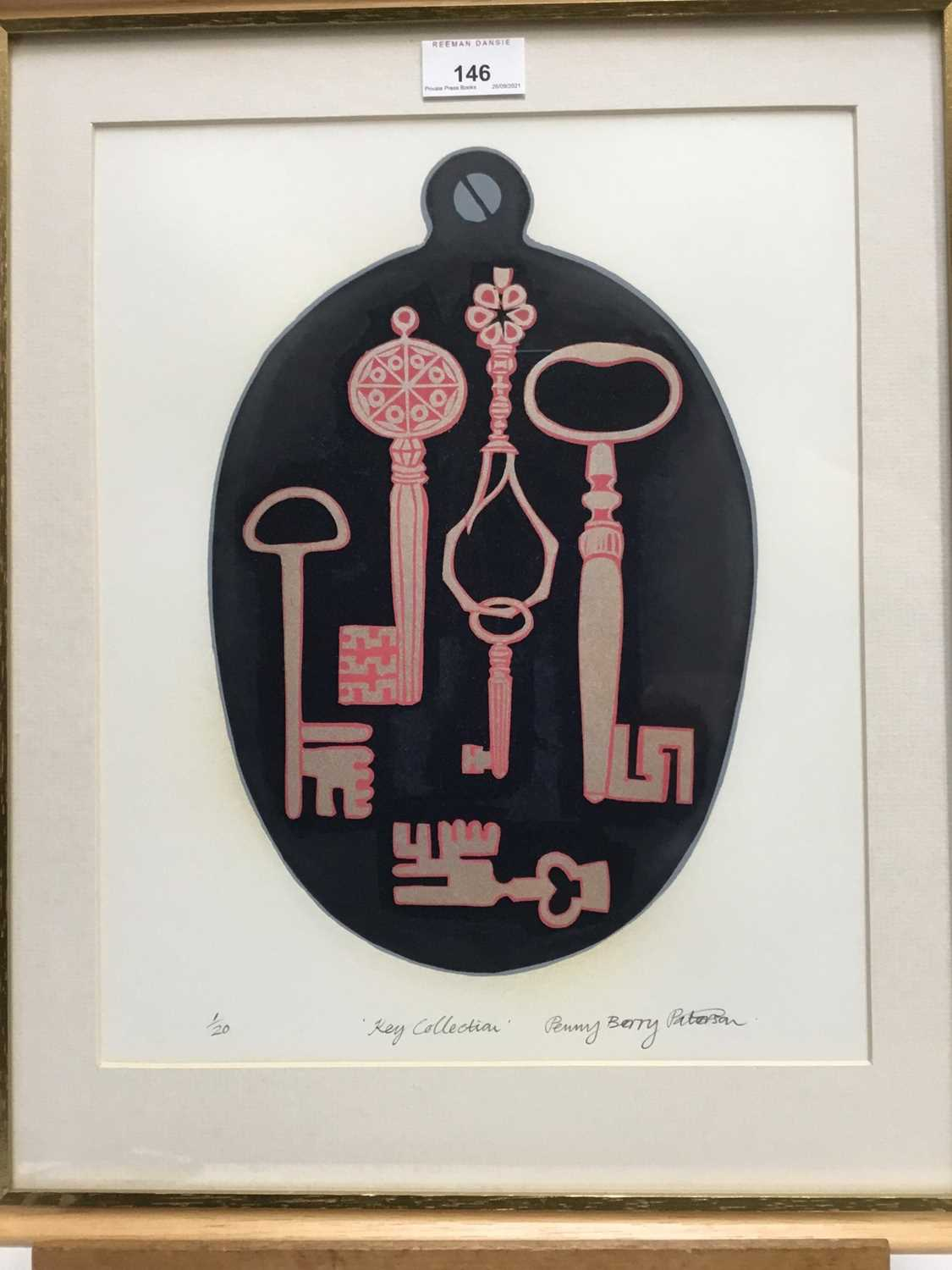 Penny Berry Paterson (1941-2021), colour linocut 'Key Collection', signed, titled numbered 1/20, ima