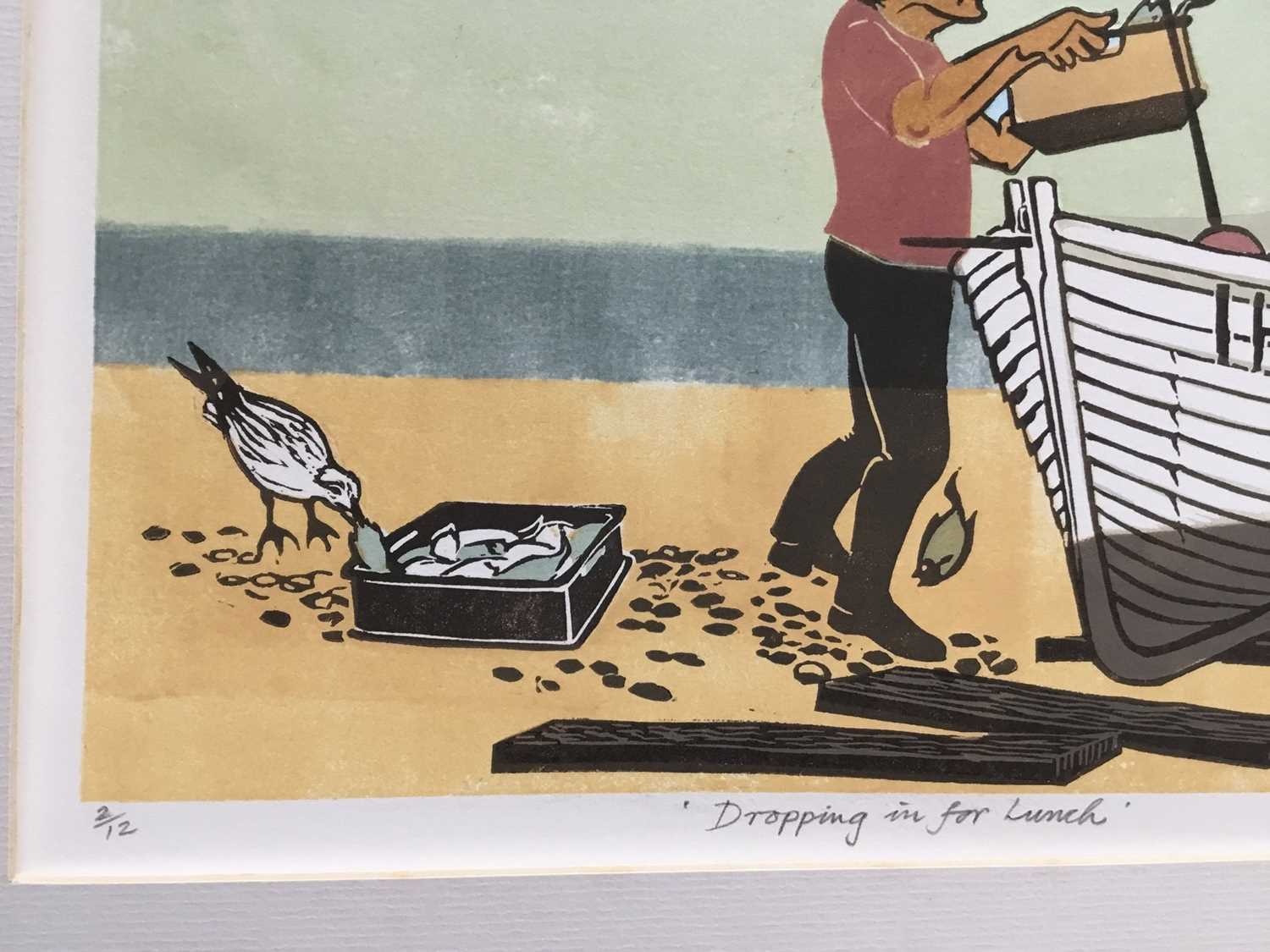 Penny Berry Paterson (1941-2021) colour linocut print, Dropping in for lunch, signed and numbered 2/ - Image 3 of 3