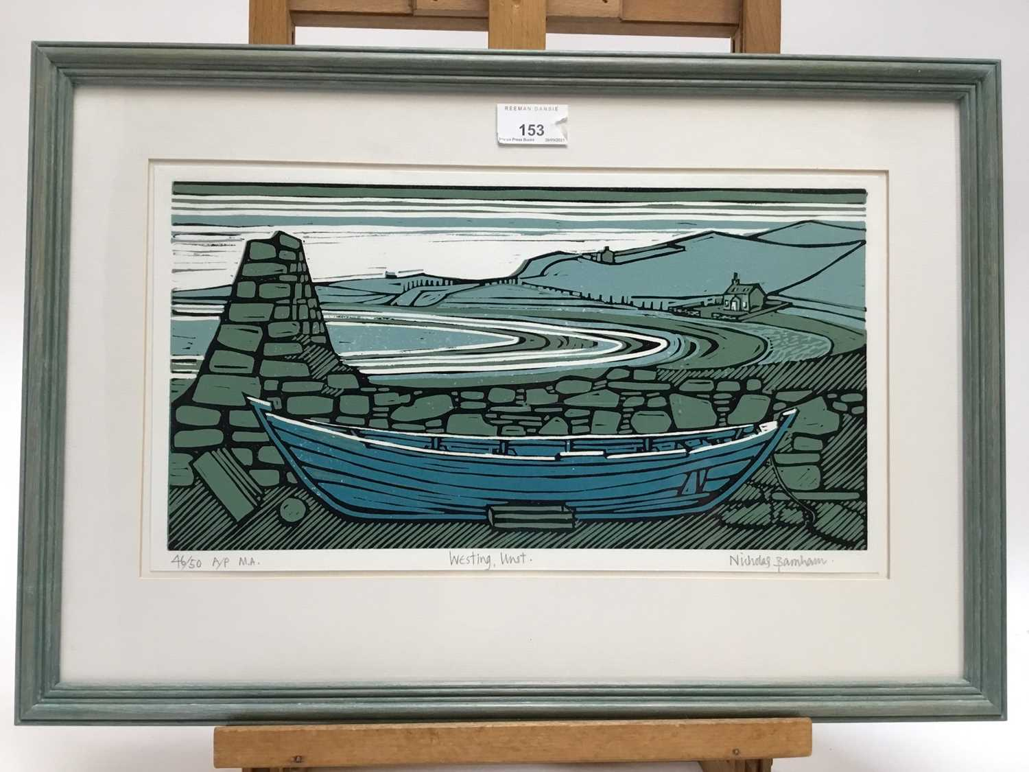 Nicholas Barnham (b. 1939) linocut in colours, Westing Unst, signed and numbered 46/50 A/P, 20 x 36c - Image 5 of 7