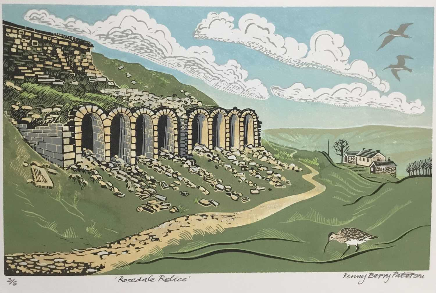 Penny Berry Paterson (1941-2021) colour linocut print, Rosedale Relics, signed and numbered 3/6, 24
