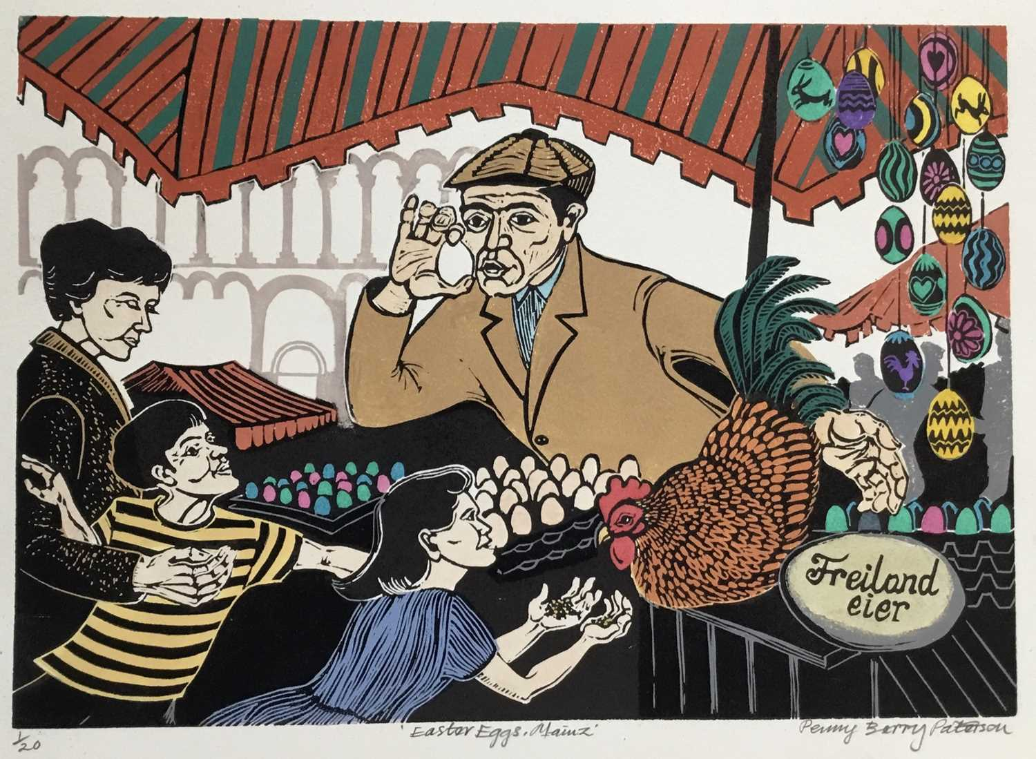 Penny Berry Paterson (1941-2021) colour linocut print, Easter eggs, Mainz, signed and numbered 1/20,