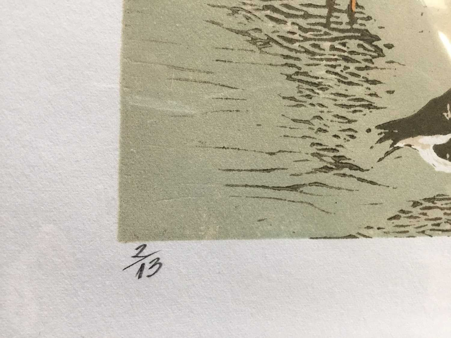 Penny Berry Paterson (1941-2021) colour linocut print, Geese at Titchwall Marshes, signed and number - Image 3 of 3