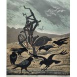 Penny Berry Paterson (1941-2021) colour woodcut print, Rooks in the stubble, signed and numbered 3/7