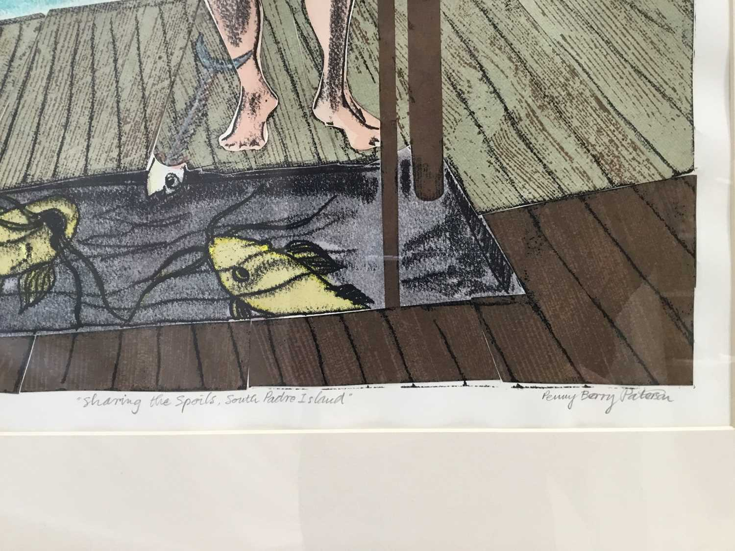 Penny Berry Paterson (1941-2021) monoprint - Sharing the spoils, South Padre Island, signed titled a - Image 2 of 7