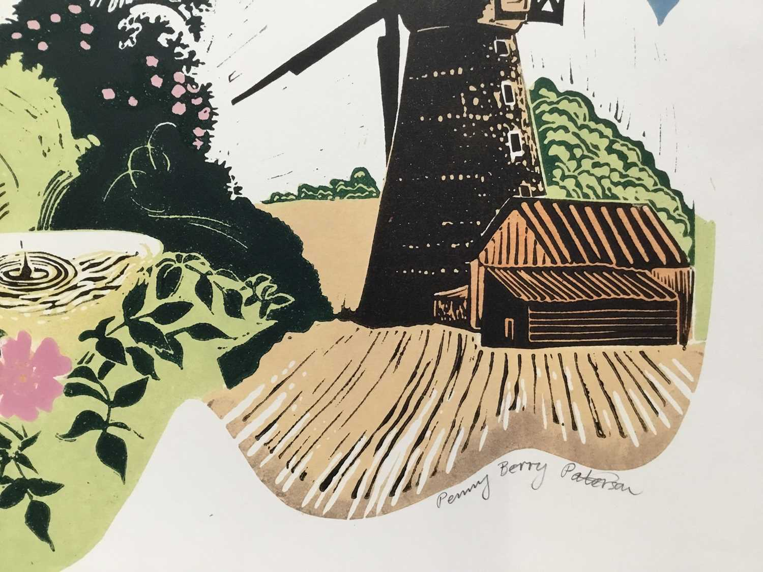 Penny Berry Paterson (1941-2021) colour woodcut print, Barnack Mill, signed titled and numbered 17/2 - Image 4 of 4