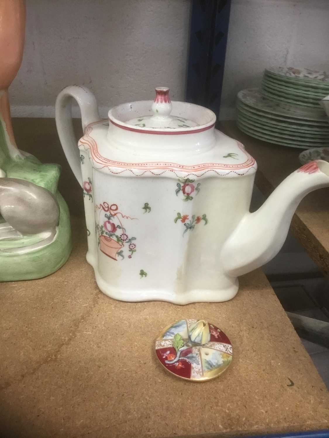 Meissen porcelain teapot (cancelled mark so a 'second'), Newhall teapot, Staffordshire greyhound - Image 6 of 6