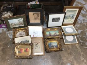 Quantity of pictures, prints and Jasper type plaques