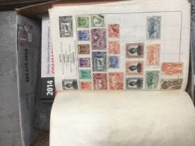 Eight stamp albums, world stamps, and a collection of loose stamps