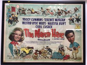 Original British Quad 1950s film poster for The March Hare starring Peggy Cummins, in glazed frame