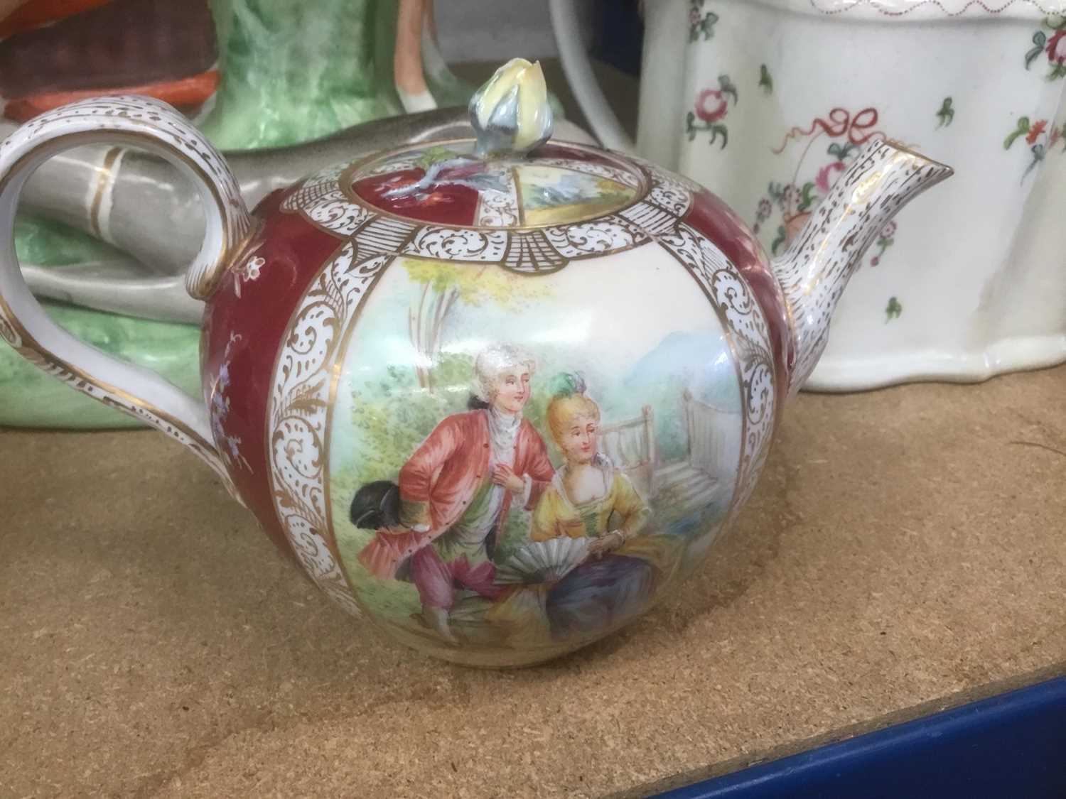 Meissen porcelain teapot (cancelled mark so a 'second'), Newhall teapot, Staffordshire greyhound - Image 2 of 6
