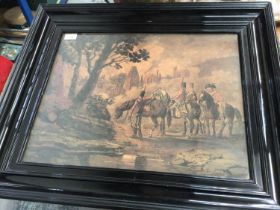 Large 19th century military watercolour, soldiers on horseback, in ebony frame, 53.5 x 41.5cm excl.