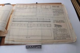 Portfolio containing handdrawn plans for TVSE Television Center and Mile End Leisure Center, various