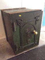 Victorian green painted Strong Holdfast Safe
