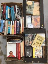 Four boxes of mixed books to include autobiograpies and some antique refence books