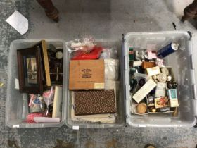 Three boxes of sundries, including lace, silver plate, vintage toiletries, scales, et