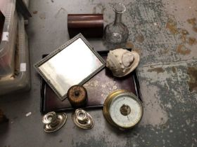 Box of sundry items, to include a carved conch shell, German brass barometer, Sadeli-type frame, etc