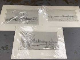 Quantity of pictures and prints, various subjects, including three Paul Earee sketches, four Willie
