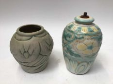 1930s Denby Danesby Ware lamp base with floral decoration, 20cm high and a Danesby Ware vase, 16cm h