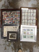 Players Association footballers cigarette cards, together with other cards in a glazed frame, reprod