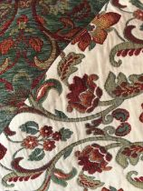 Two Rolls of soft furnishing fabric, green, red and cream chenille brocade. 26m x 140cm approximatel