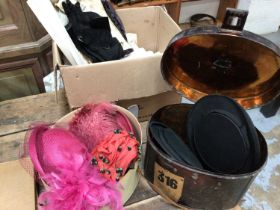 A box of linen, together with vintage pairs of kid gloves, three vintage ladies hats in a Scott's ha