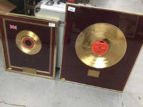 Formula Ford Interest- two framed gold discs for Formula Ford 1600 Trophy races 1976
