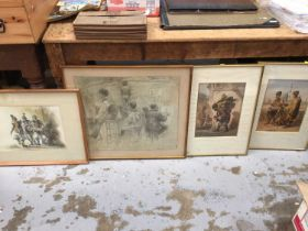 Late 19th century French chalk study of a life drawing class, a North African watercolour, and a pai